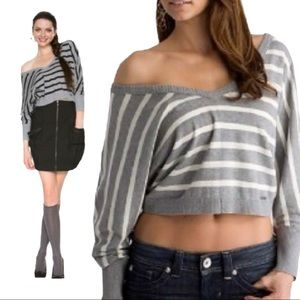 Guess cropped gray striped sweater top size L
